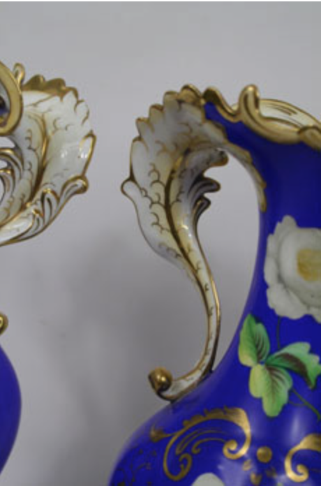 Blue Continental Vases - Pair