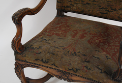 Carved Fauteuil with Needlepoint Seat and Back