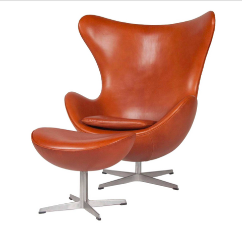 Egg Chair and Ottoman Designed by Arne Jacobsen Covered in Sørensen Leather