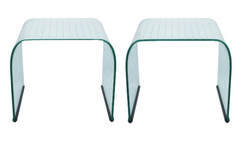 A Pair of Italian Etched Glass Side Tables by Angelo Cortesi for Fiam