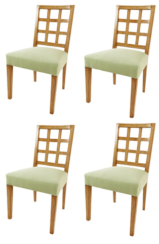A set of 4 bleached Mahogany side chairs