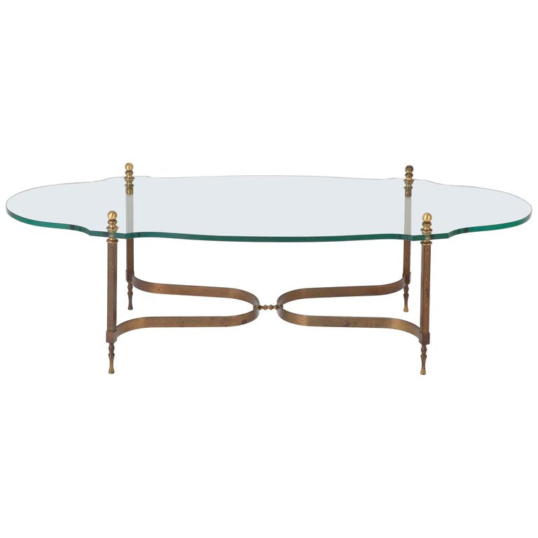 Mid Century Modern Italian Bronze And Glass Coffee Table Avery