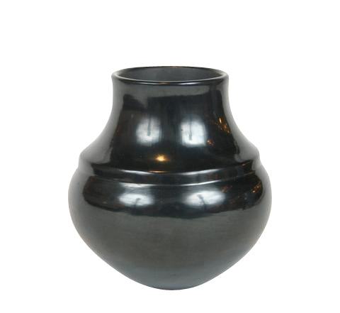 A Polished Black Native American Vase by Tina Garcia.