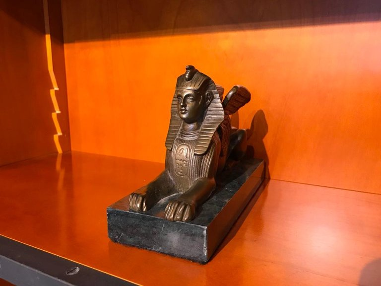 Pair of 19th Century Bronze Winged Sphinx on Marble Bases