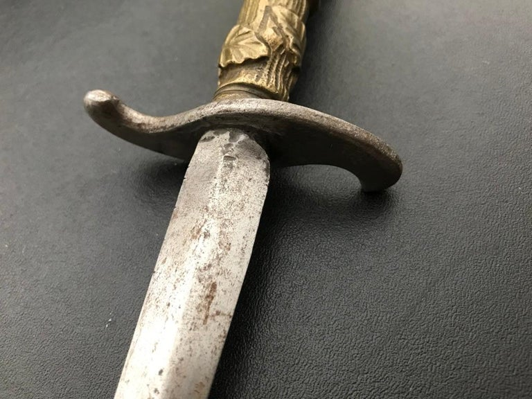 Italian Steel Stiletto With Bronze Hilt of Eve and the Serpent