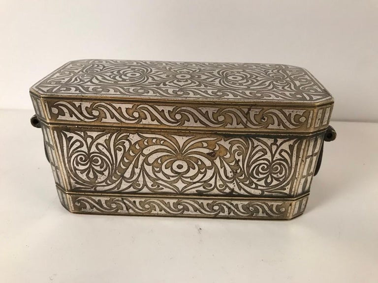 Set of Four Silver and Bronze Inlaid Betel Nut Boxes