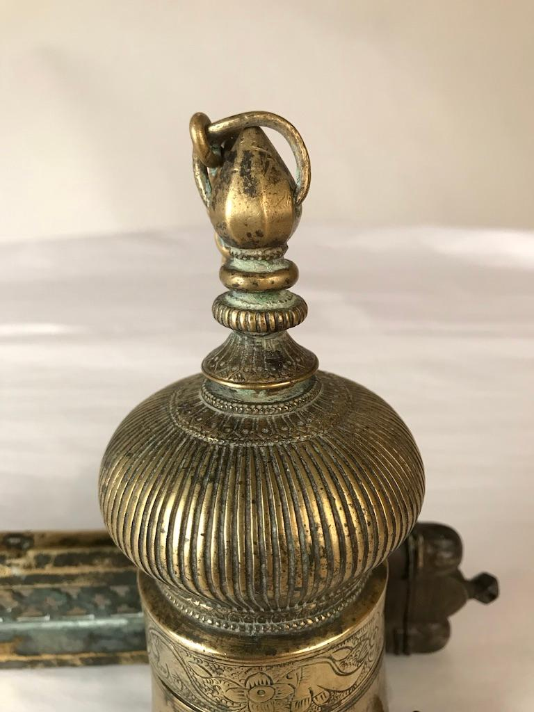 Ottoman Brass Inkwell and Pen Case Qalamdan