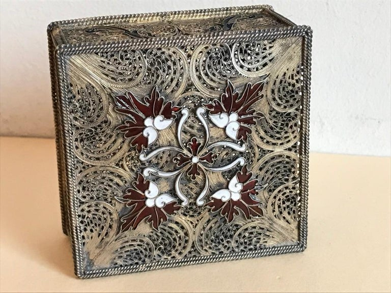 Portuguese Silver Filigree and Enamel Box with Gold Wash