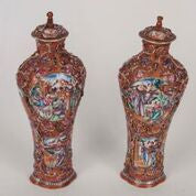 Fabulous Pair of 18th Century Chinese Covered Urns