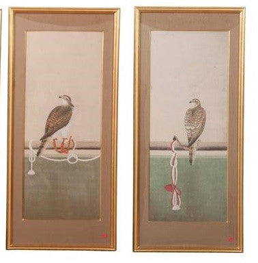 Two Japanese Watercolors Depicting Various Stages of Falconry