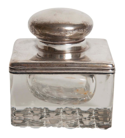 An English Cut Glass Inkwell with Sterling Lid & Collar