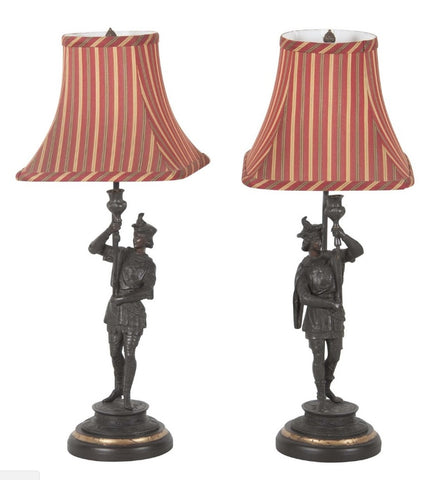 Pair of Spelter Candlesticks Mounted as Lamps