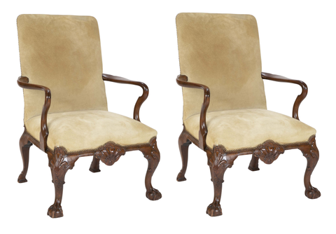 Pair of Early 19th Century Irish Walnut Library Chairs