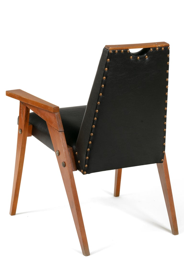 Italian Wood Framed Dining Chairs Upholstered in Black Leather - Priced Individually