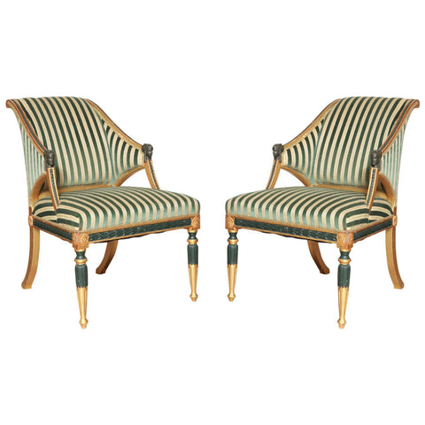 A pair of Swedish Neoclassical Verdigris & Gilt Armchairs in the Manner of Ephraim Stahl