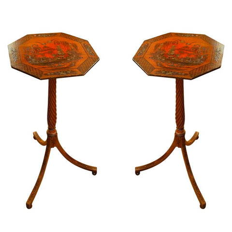 Pair of Regency Style Candle Stands