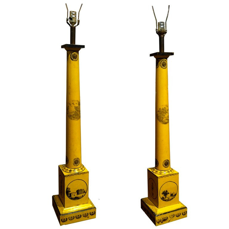 Pair Large Scale Neoclassical Column Tole Lamps
