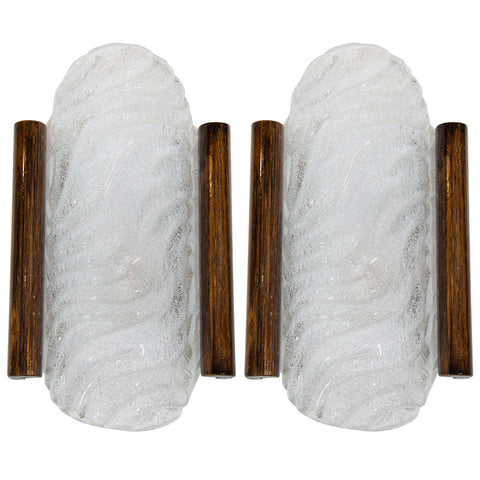 Pair of Mid-Century Murano Glass Sconces with Wood Trim by Kalmar