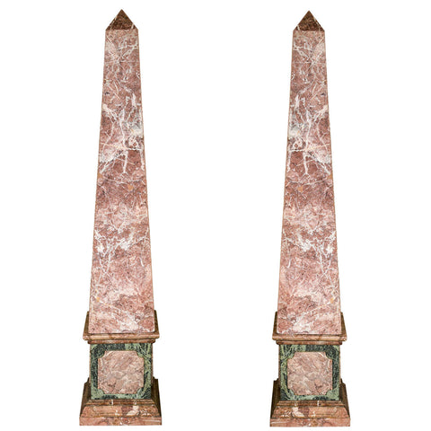 Pair of French Monumental Marble Veneered Obelisks
