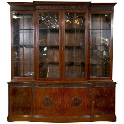 Finely Carved Mahogany Breakfront Bookcase