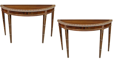 A Pair of Art Deco Rosewood Demilune Console Tables