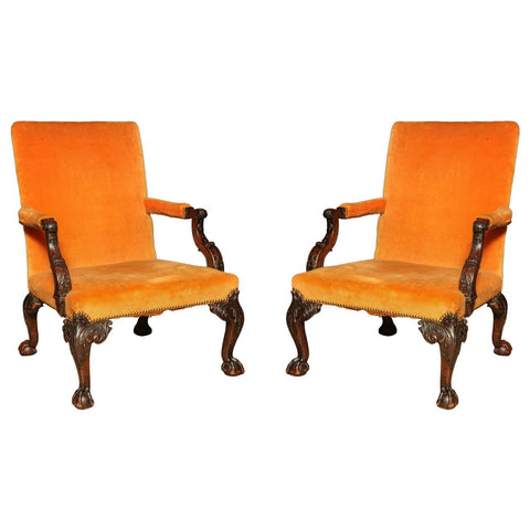 Pair of George III Gainsborough Chairs