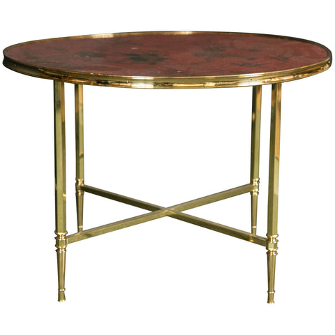 French Polished Brass Coffee Table with Lacquered Chinoiserie Top