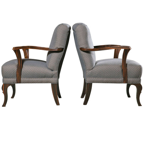 Pair of Upholstered Art Deco Armchairs of Palisander Wood