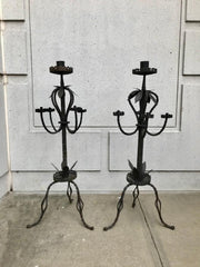 Pair of Italian Baroque Wrought Iron Five Light Candelabra