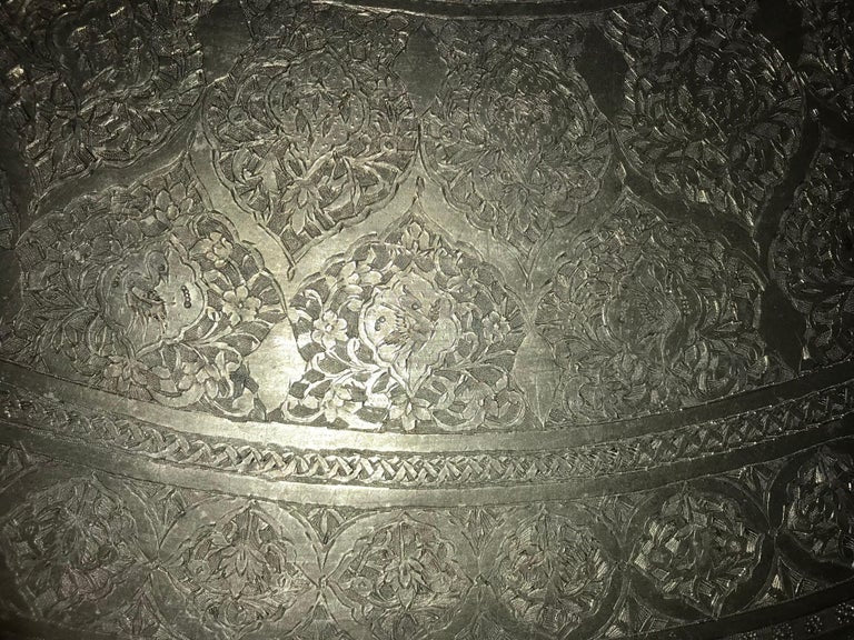 Moroccan Silvered Copper Charger, Large Scale