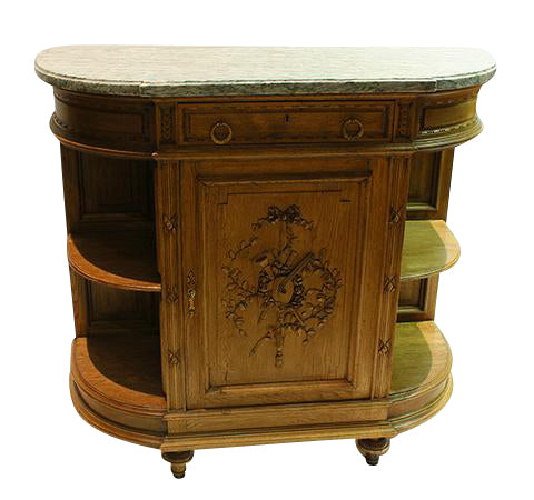 Carved Oak Server with Marble Top