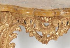 Pair of French Carved Gilt Wood Consoles