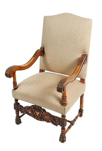 Large Carved Walnut Armchair