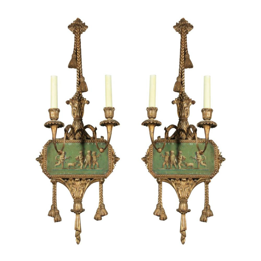 Adams Style Painted Wall Sconces