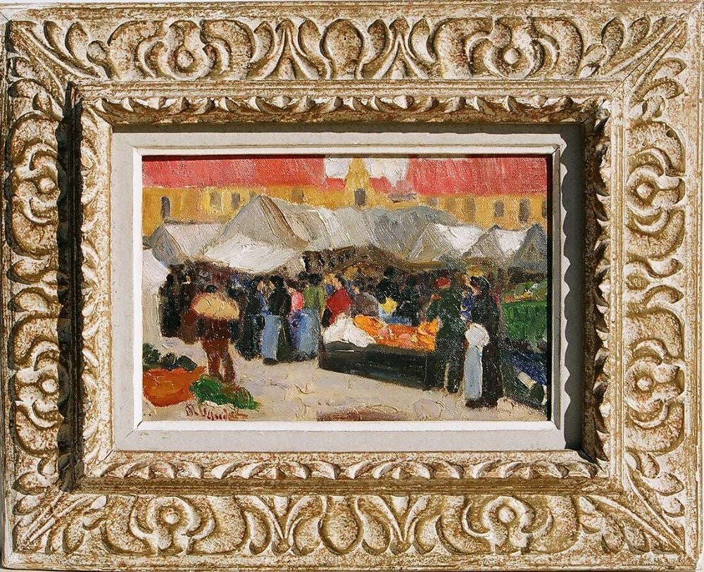 MARIE BAUDET (FRENCH – 19TH /20TH C) MARKET SCENE IN REIMS