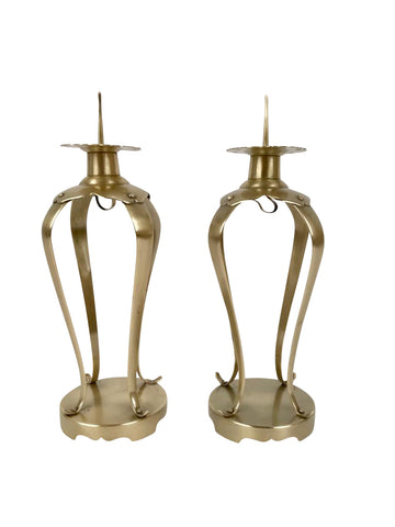 Pair of Japanese Brass Candlesticks