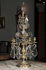 Pair Louis XV Bronze and Crystal Candelabra