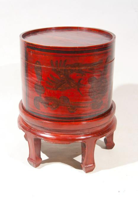 Chinese Hat Box On Stand
