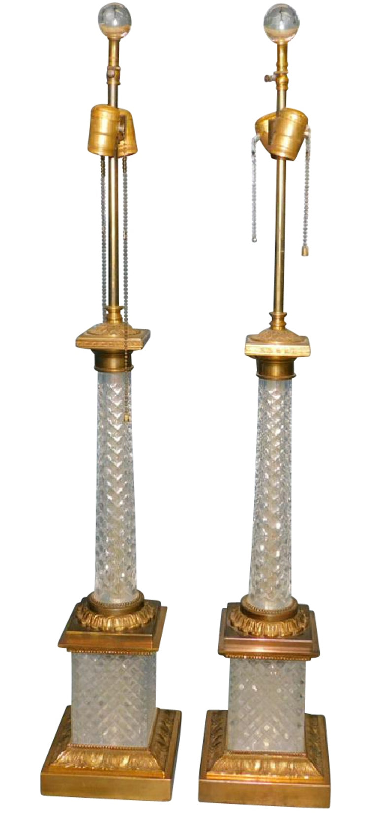 Pair of French cut-crystal and ormolu lamps