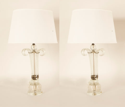 "Pair of Cut Crystal ""Palm"" Lamps"