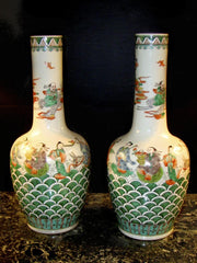 Pair of Chinese Famille Verte Export Vases
