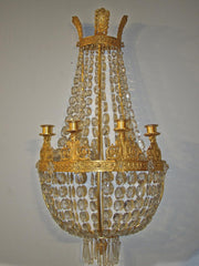 Pair of Empire Bronze and Crystal Sconces