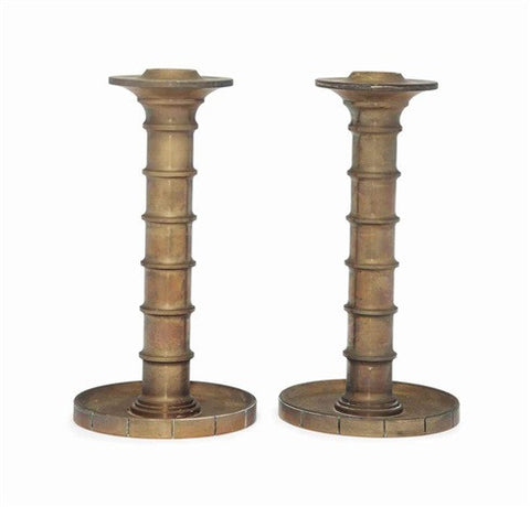 "A Pair of Evan Jensen ""Barcelona"" Bronze Candlesticks"