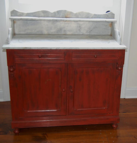 French Red Painted Vanity with Marble Top