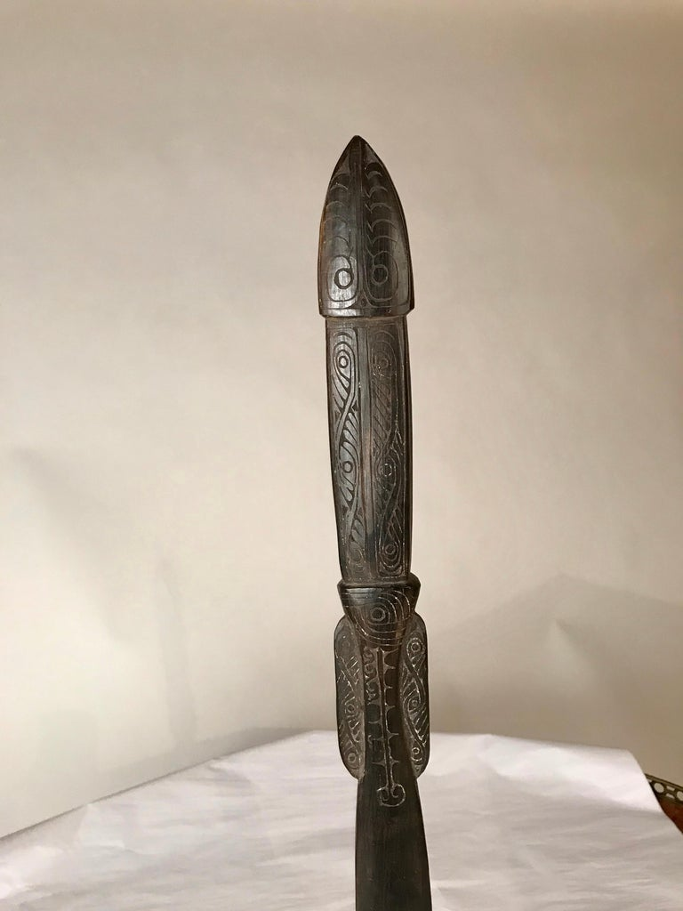 Oceanic Carved Hardwood Lime Spatula, Papua New Guinea
