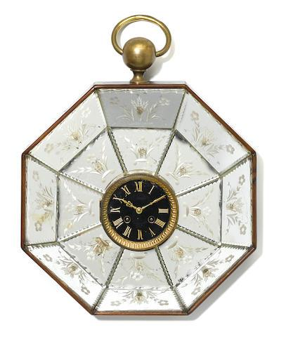 A Continental acid etched mirrored wall clock  late 19th century