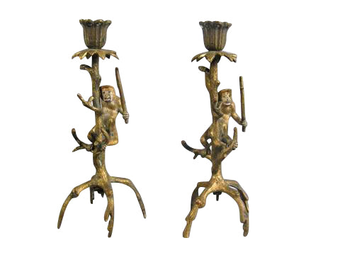 Pair of Bronze Dore Candlesticks