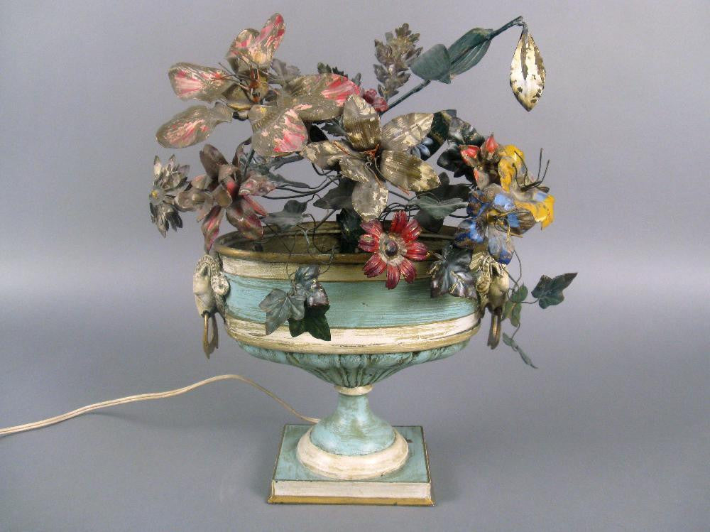 Continental Tole Urn with Tole Painted Flowers