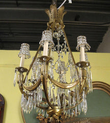 Bronze & Crystal French Chandelier in the Manner of Jansen