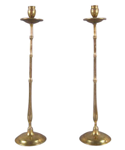 Pair of Brass Faux Bamboo Candlesticks